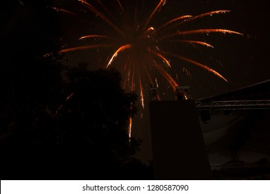 Fireworks on the eve of the new year at night in Mexico