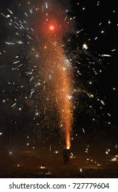 Fireworks on the ground