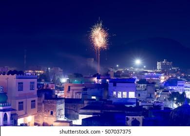 Fireworks on holy Pushkar lake, Rajasthan, India.