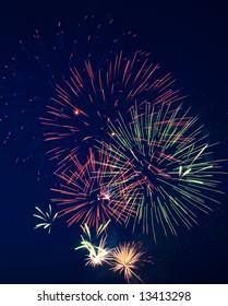 Fireworks on Independence Day. Dark sky. 5