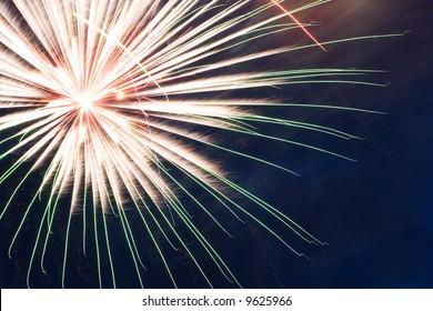 Fireworks on Independence Day. Dark blue sky. 3