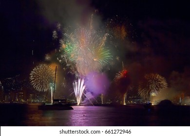 Fireworks on new years eve in the Bay of Acapulco, Mexico.