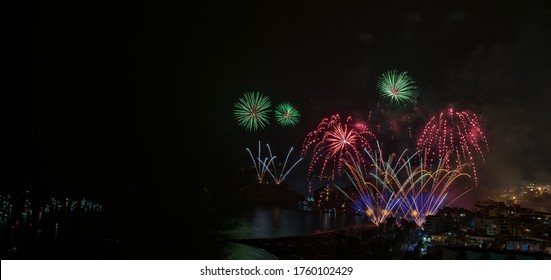Fireworks on the night of 15 August in Almuñecar. Famous musical fireworks display to close the August festivities in Almuñecar.