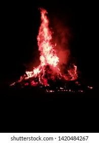 "The fireworks. on the occasion of Holika Dahan the villagers burn thier evil and bad habits. this is the ritual of an Indian festival ""Holi""."