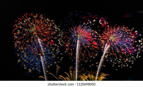 Fireworks on the sky for background.