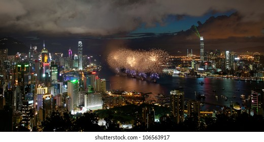 Fireworks on the Victoria Harbor celebrate the anniversary of Hong Kong reunification to China, 1st July 2012.