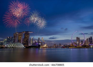 Fireworks over bay in Singapore on National day rehearsal
