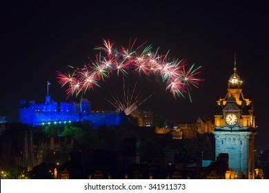 Fireworks over Castle at The Edinburgh International Festival aka The Fringe, Scotland, UK.