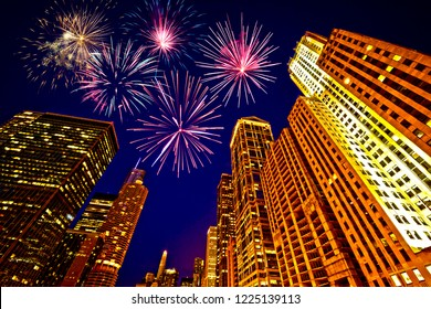 Fireworks over Chicago skyscrapers, United States