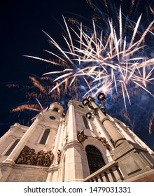 Fireworks over the Christ the Savior Cathedral , Moscow, Russia.