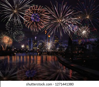 Fireworks over the city of Frankfurt, in Germany