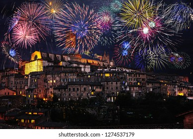 Fireworks over the city of Siena, Toscany