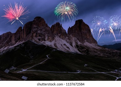 Fireworks over Dolomites alps