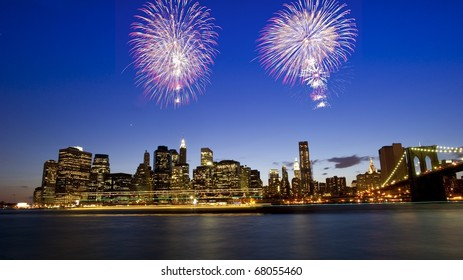 Fireworks over downtown manhattan