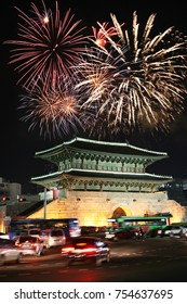 Fireworks over East Gate of Seoul, Capital of South Korea, has 8 gates of the castle walls and East Gate being called Dongdaemun