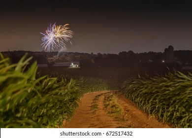 Fireworks over the fields on July 4th