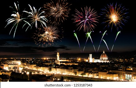 Fireworks over Florence cityscape, Tuscany, Italy