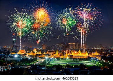 Fireworks over grand palace and emerald buddha temple, bangkok Thailand
