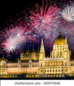 Fireworks over Hungarian parliament in Budapest. New years eve in Budapest, Hungary.