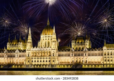 Fireworks over  Hungarian parliament in Budapest. New years eve celebration in Budapest, Hungary.