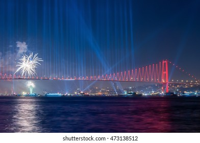 Fireworks over Istanbul Bosphorus during Turkish Republic Day celebrations. Istanbul, Turkey.