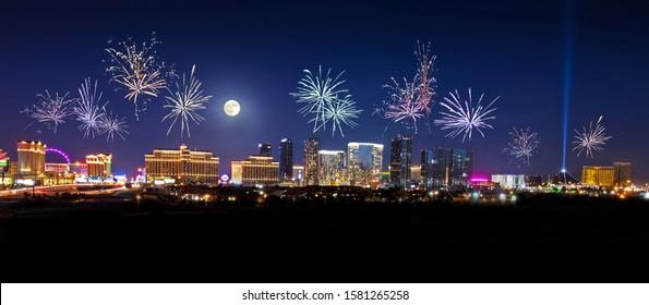 Fireworks over Las Vegas skyline.