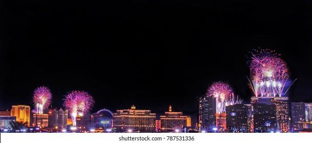 Fireworks over the Las Vegas Strip.