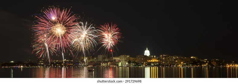 Fireworks over Madison, Wisconsin and state capital across Lake Monona during the 2015 Shake the Lake festival