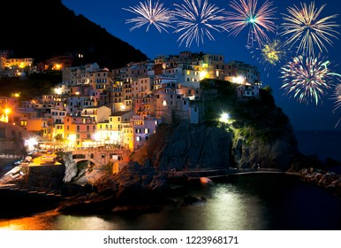 Fireworks over Manarola village, Liguria, Italy
