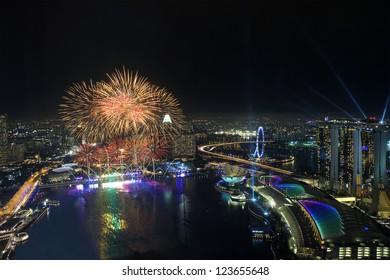 Fireworks over Marina Bay