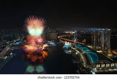 Fireworks over Marina Bay Singapore during New Year Celebration 2012
