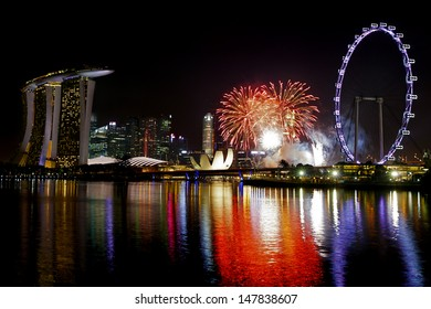 Fireworks over Marina bay in Singapore