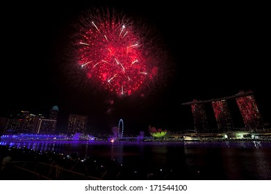 Fireworks over Marina bay in Singapore on New Years Eve