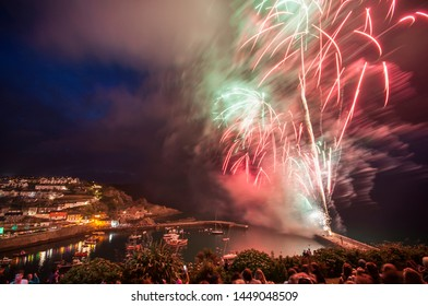 Fireworks over Mevagissey Harbour, Cornwall UK