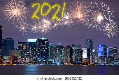 Fireworks over Miami skyline to celebrate New Year's Eve 2021. Florida, Usa
