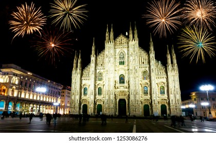 Fireworks over Milan, Italy
