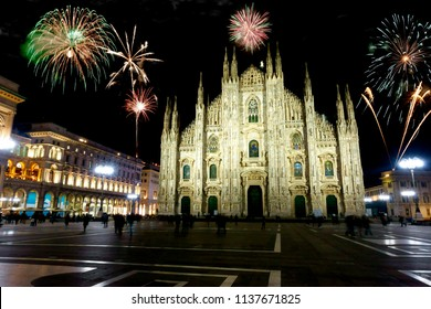 Fireworks over Milano, Italy