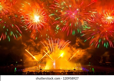 Fireworks over the Multimedia Fountain, Wroclaw, Poland
