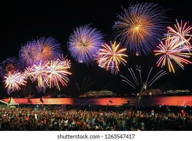 Fireworks over New Year's Eve at Copacabana beach in Rio de Janeiro.