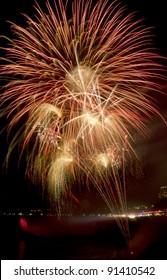 Fireworks over Niagara Falls, Ontario, Canada. Part of the 2011/2012 Winter Festival of Lights celebration.
