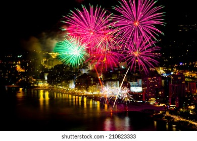Fireworks over the night city