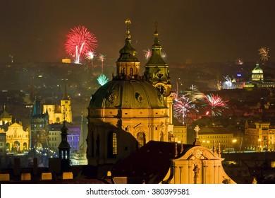 Fireworks over night Prague, Czech republic
