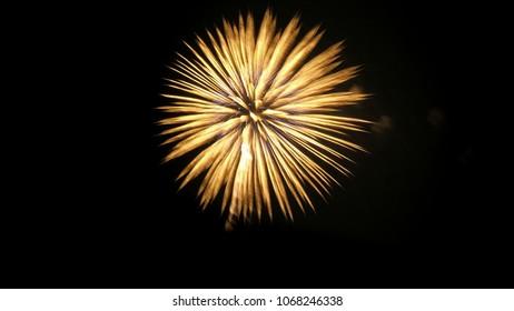 Fireworks over night sky background