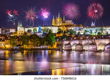 Fireworks over the Old Town of Prague, The Czech Republic.