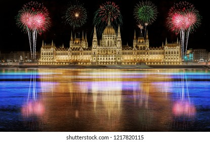 Fireworks over the Parliament building in Budapest, Hungary