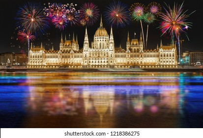 Fireworks over the Parliament building in Budapest, Hungary.