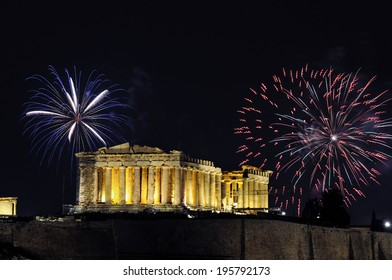 Fireworks over the Parthenon temple of Athens  for New Year celebration