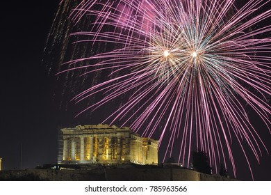 Fireworks over the Parthenon temple on the Acropolis of Athens for New Year celebration