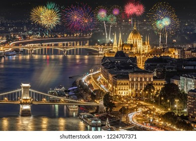 Fireworks over the Pest side of Budapest across the Danube River in Hungary, Europe