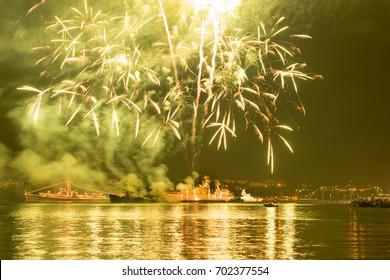 Fireworks over Russian Navy fleet during Victory Day celebrations, Sevastopol Bay, Crimea